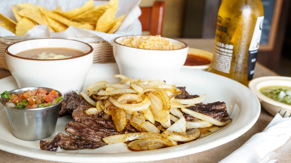 Carne Asada: Tender, grilled skirt steak, cooked to order. Served with rice, beans, grilled onions, pico de gallo and tortillas.